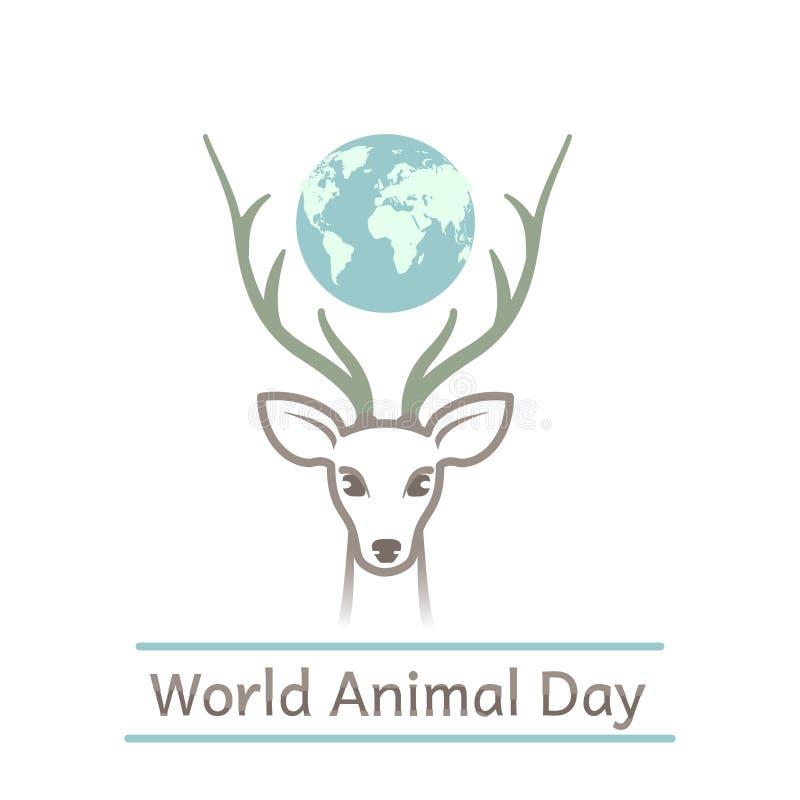 Druku dnia światowy zwierzęcy rogacz ilustracja wektor