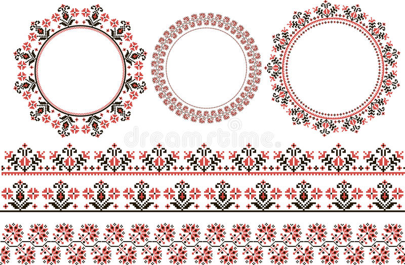 Druku set etniczny round ornament ilustracja wektor