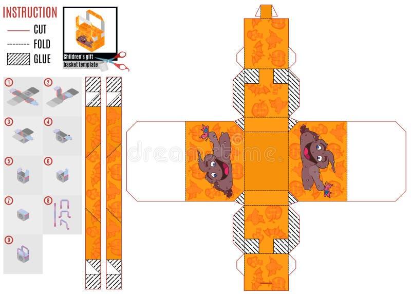 Druku szablonu dziecka pudełkowaty turd i motyl ilustracja wektor