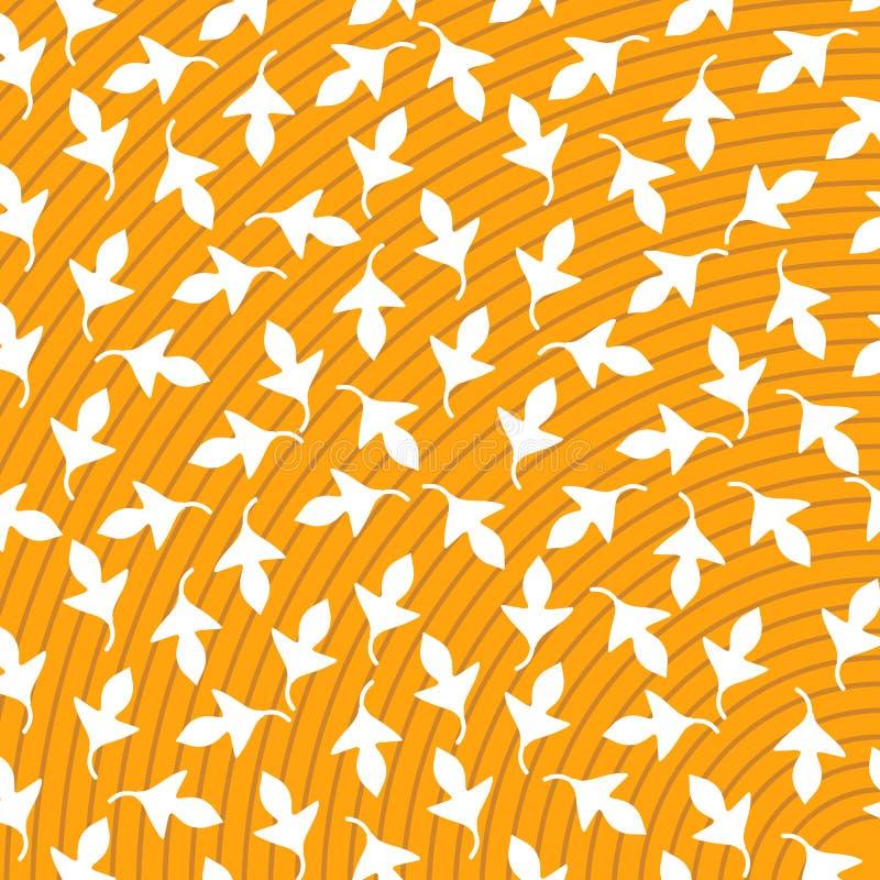 Druku tła bielu Wektorowy Abstrakcjonistyczny Żółty liść ilustracja wektor