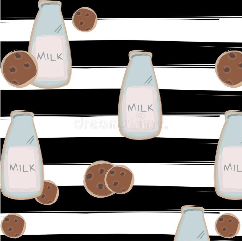 Drukuje butelkę mleko z ciastkami na pasiastym tle royalty ilustracja