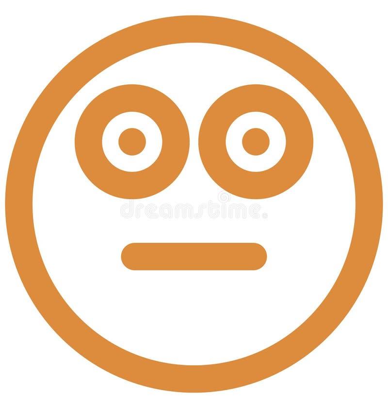Drukuje speszoną twarz, emoticons Wektorowa Odosobniona ikona która może łatwo redagować lub modyfikować royalty ilustracja