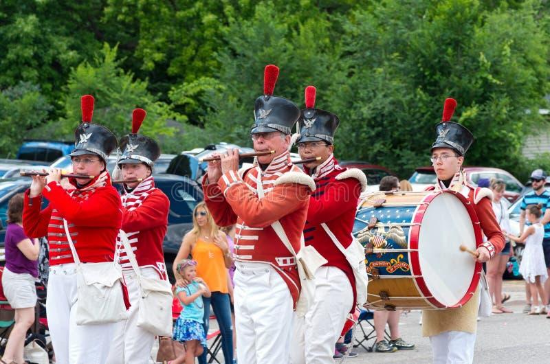 Drum和在Mendota游行的Fife Corp 库存照片