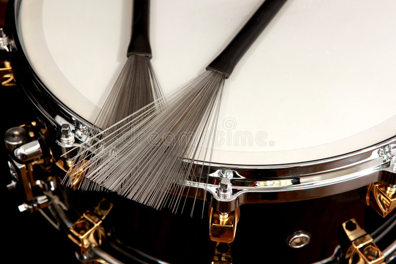 Drum. Close up drum with drumsticks on black background royalty free stock photo