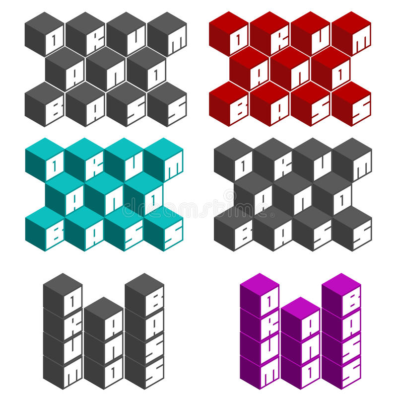 Drum and bass cubic square fonts in different colors. Drum and bass cube square fonts in different colors vector illustration