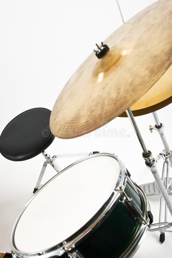 Drum and cymbals. Set with cymbals, drum and chair indoor shot,check also stock photos