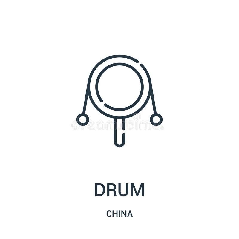 Drum icon vector from china collection. Thin line drum outline icon vector illustration. Linear symbol for use on web and mobile. Apps, logo, print media vector illustration