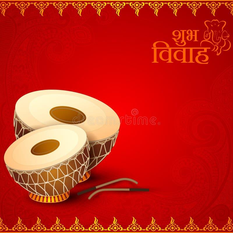 Drum in Indian Wedding Invitation Card vector illustration