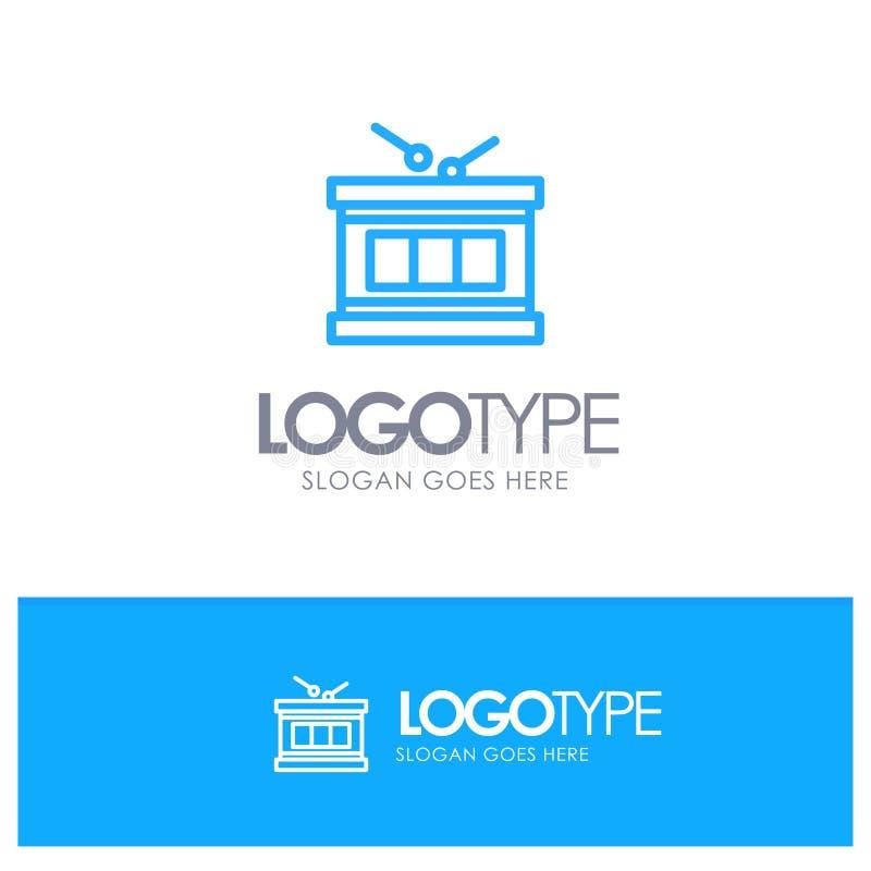 Drum, Instrument, Irish, Parade Blue Outline Logo Place for Tagline stock illustration