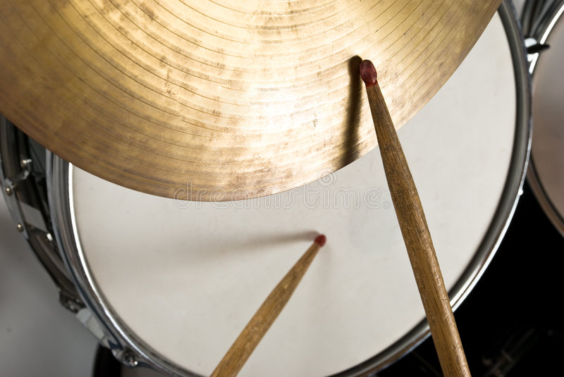 Drum kit. Close up of drum kit with cymbal and drumsticks,check also royalty free stock photos