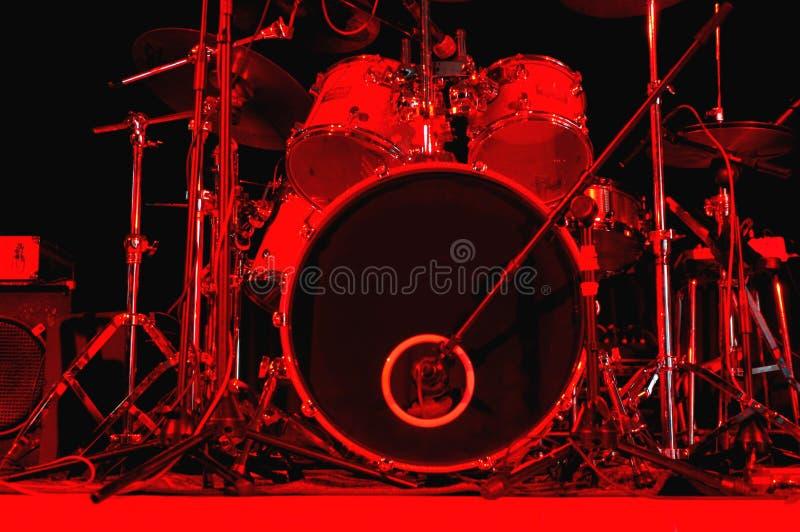Drum kit. Under red stage lighting