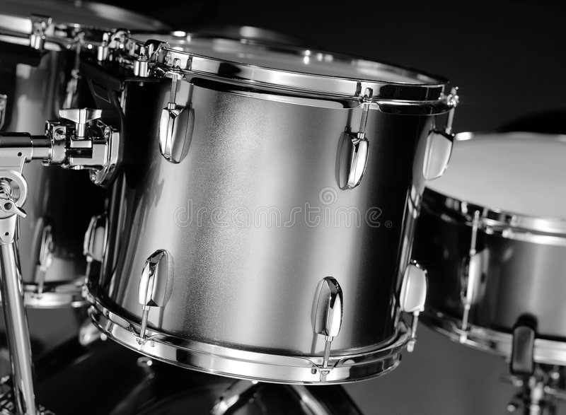 Drum-kit Closeup In B&W Stock Image