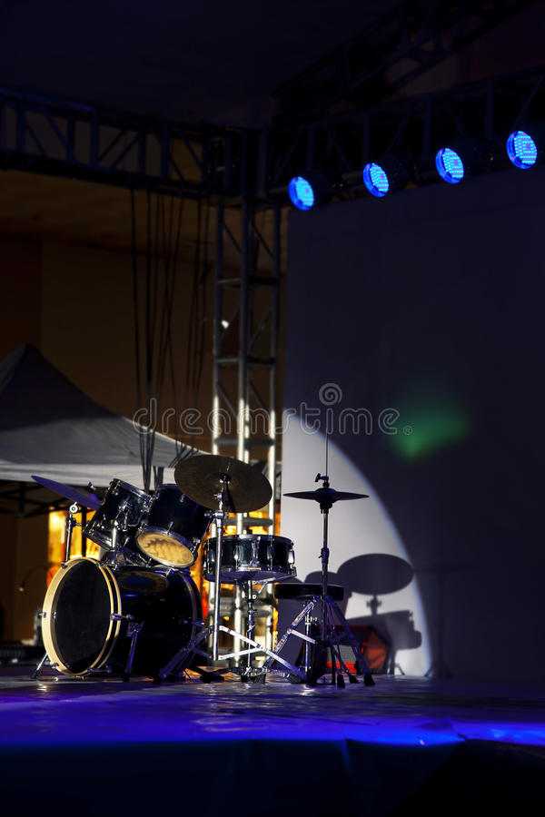 Download Drum kit,stage stock photo. Image of light, blue, indoor - 28706722