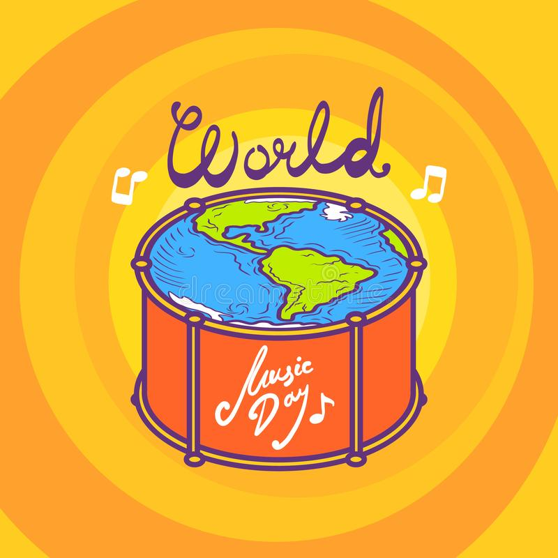Drum music day concept background, hand drawn style royalty free illustration