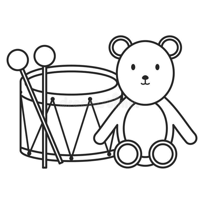 Drum musical with bear teddy toys stock illustration