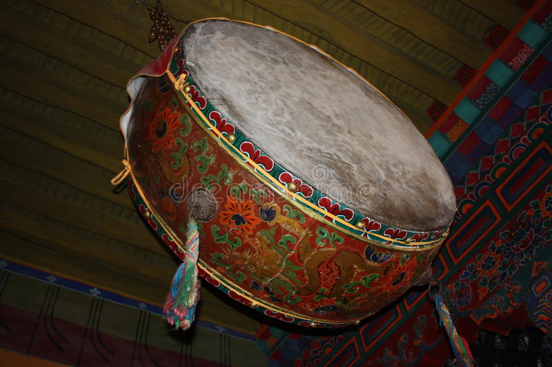 Drum. Painter in tibet royalty free stock images