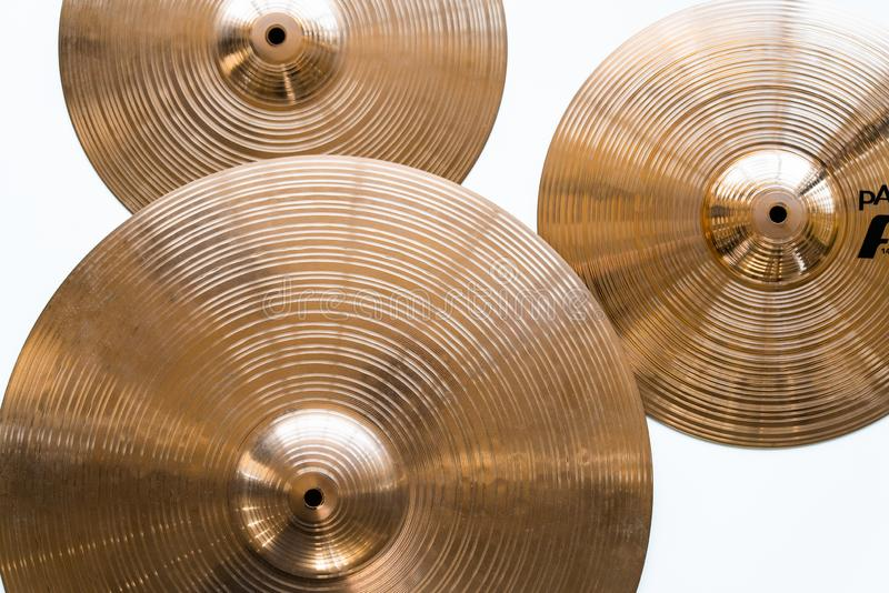Drum plate, drum set on a white background, musical cymbals top view royalty free stock image