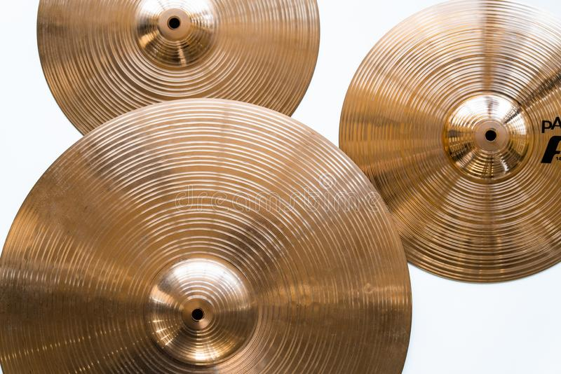 Drum plate, drum set on a white background, musical cymbals top view royalty free stock photo