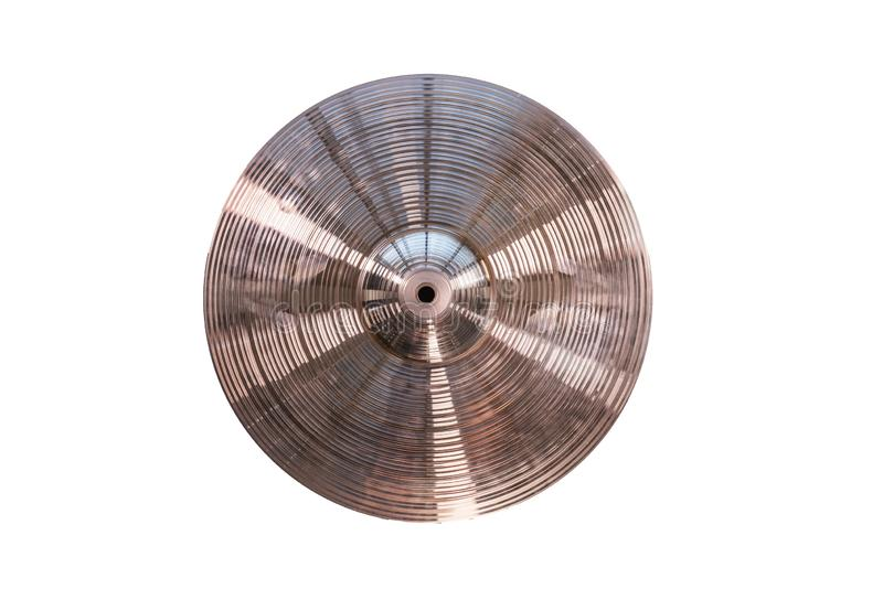 Drum plate, drum set on a white background, musical cymbals top view stock photography