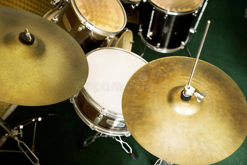 Drum set. In music room royalty free stock image