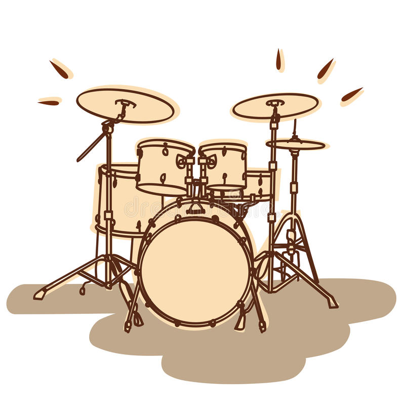 Drum set vector. Illustrations of a drum kit isolated on white + vector eps file vector illustration
