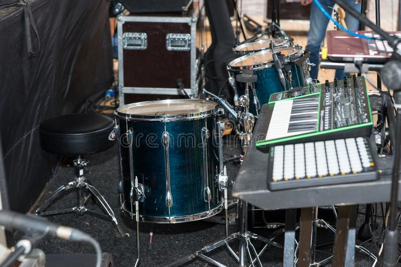 Drum set on an empty stage. Preparation for the performance outdoors stock photo
