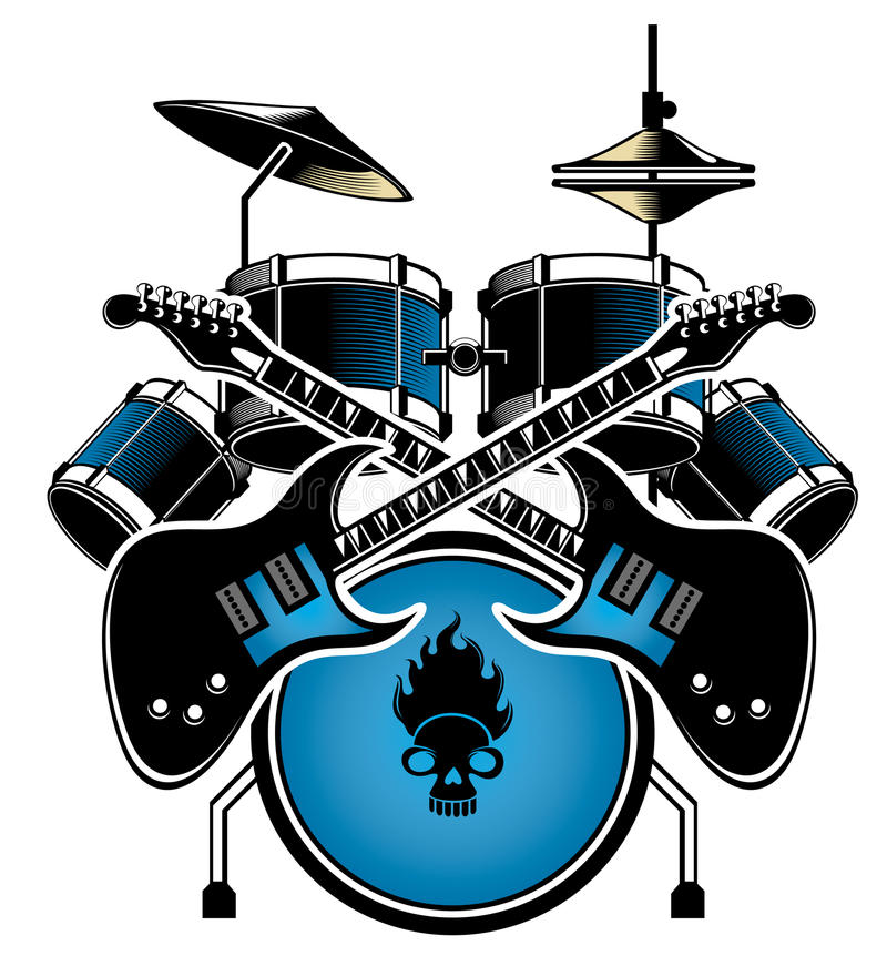 Download Drum Set And Guitar Stock Vector Illustration Of