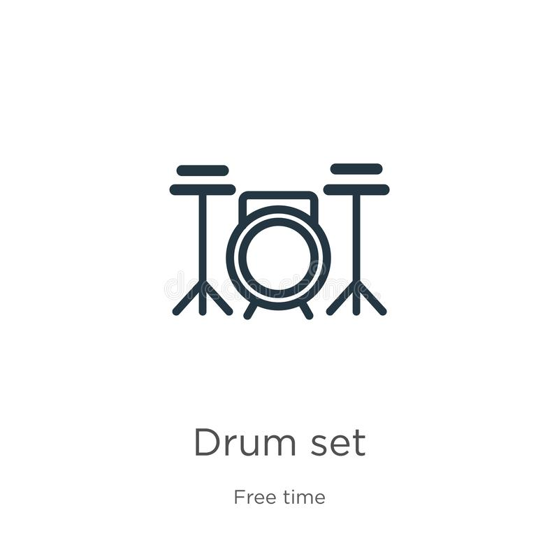 Drum set icon. Thin linear drum set outline icon isolated on white background from hobbies collection. Line vector drum set sign, stock illustration