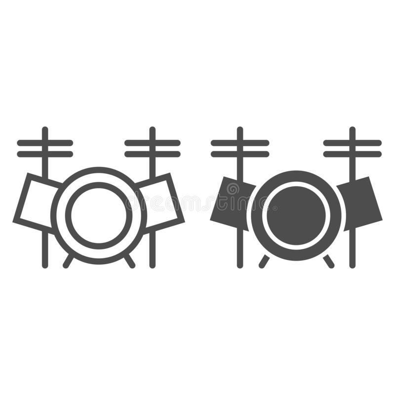 Drum set line and glyph icon, music and instrument, drum kit sign, vector graphics, a linear pattern stock illustration