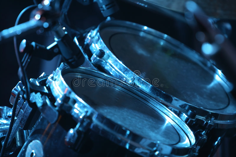 Download Drum set, lit by blue stock photo. Image of concert, cool - 2254254