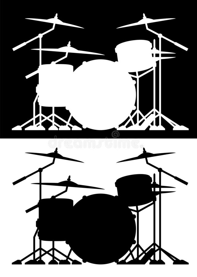 Drum set silhouette isolated vector illustration in both black and white royalty free illustration