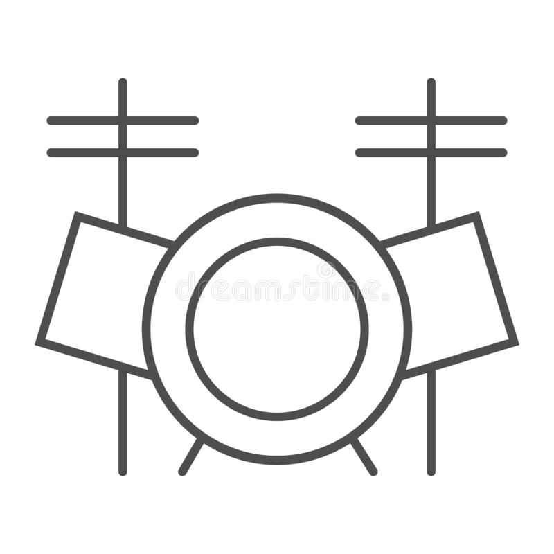 Drum set thin line icon, music and instrument, drum kit sign, vector graphics, a linear pattern on a white background. royalty free illustration