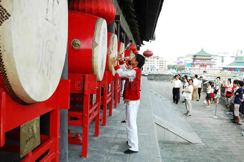 Drum show in Xian,China stock images
