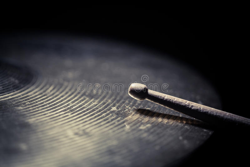 Drum stick and cymbal detail stock photography