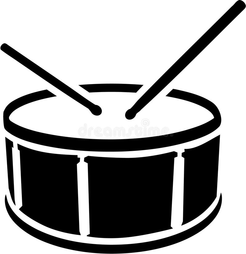 Drum symbol with sticks. Vector royalty free illustration