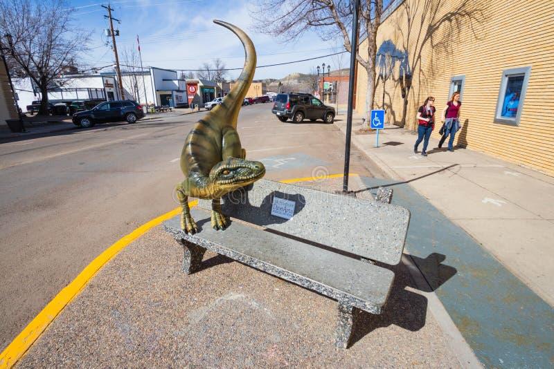 Drumheller, Alberta, Canad? 18 Em abril de 2019: O dinossauro o maior do mundo, o capital do mundo, curso Alberta do dinossauro,  imagens de stock