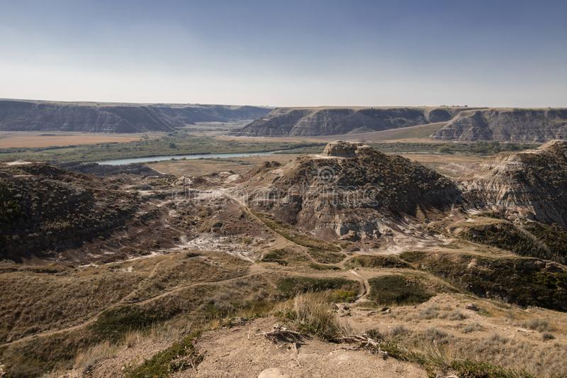 Drumheller Badlands Alberta Scenery Travel. The Drumheller Badlands in Alberta. Deep in the backcountry hiking trails are the best views as seen here royalty free stock photo
