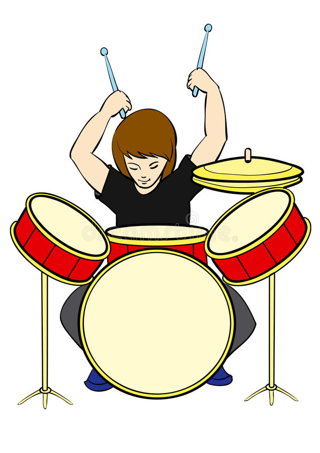 Download Drummer stock vector. Image of stripling, rehearsal, graphic - 15546449