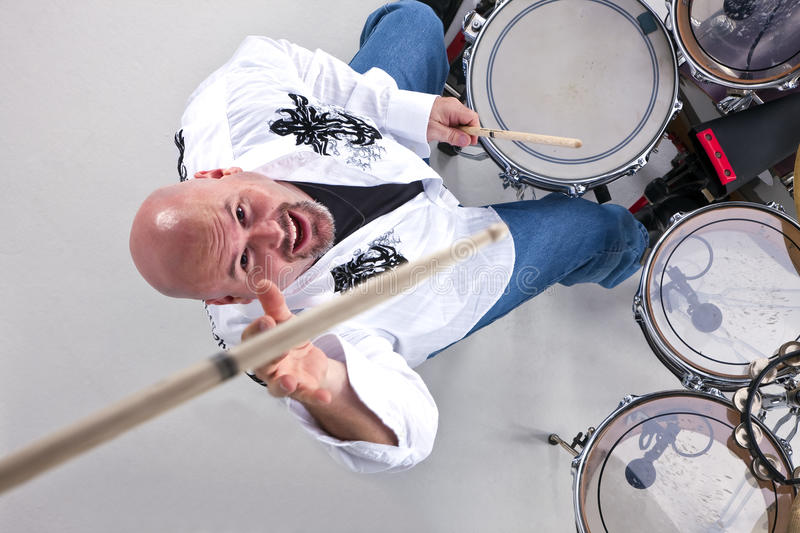 Drummer in Action royalty free stock photo