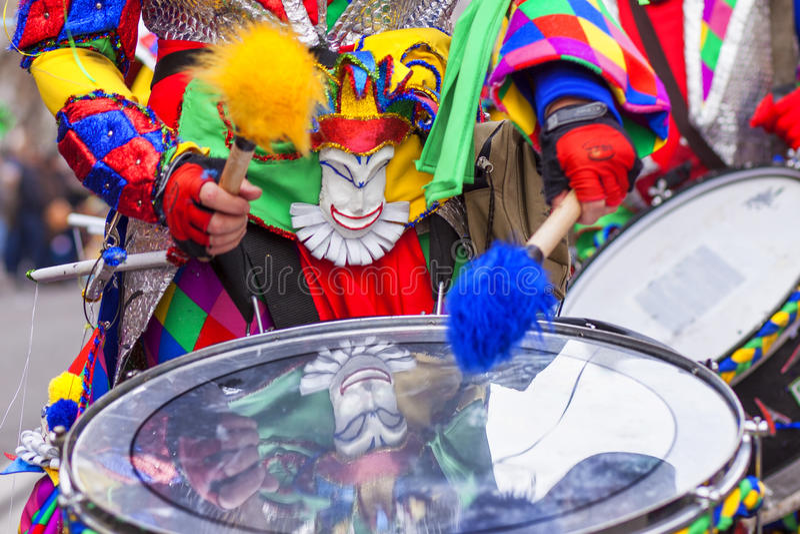 Drummer at Badajoz Carnival parade, Spain. Drummer playing at Carnival parade of Badajoz, Spain stock images