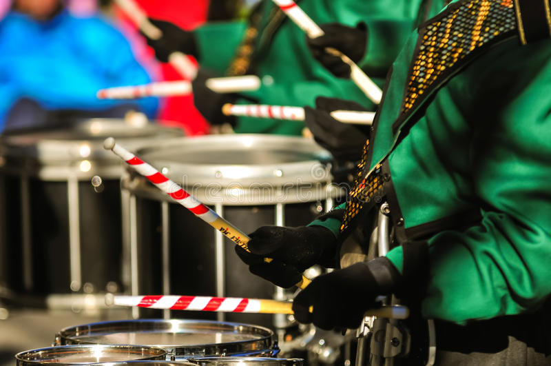 Drummer boy with drummer sticks. At parade marching stock image