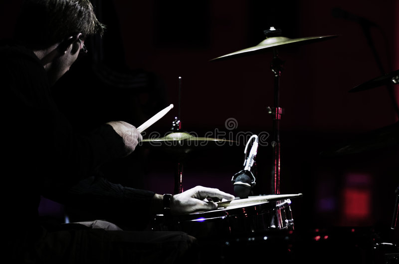 Drummer on concert stock photo