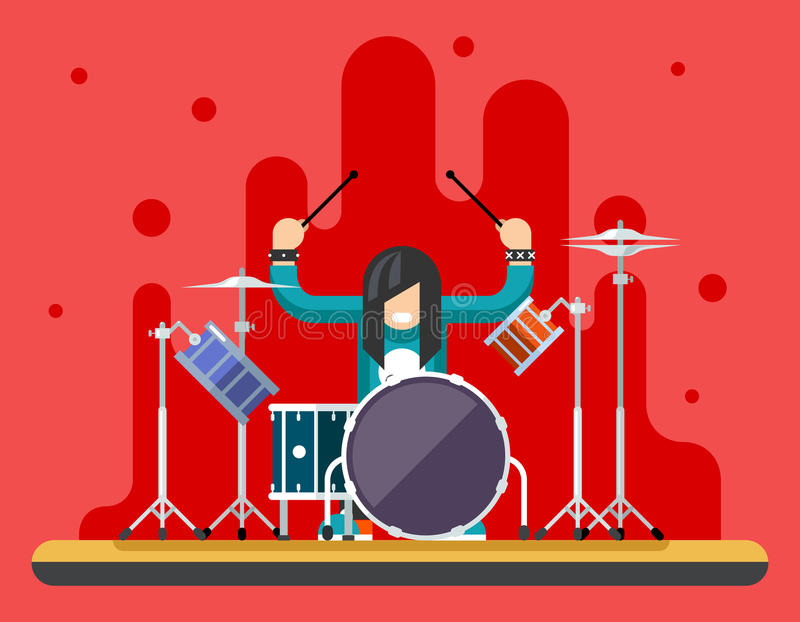 Drummer Drum Icons Set Hard Rock Heavy Folk Music Background Concept Flat Design Vector Illustration vector illustration