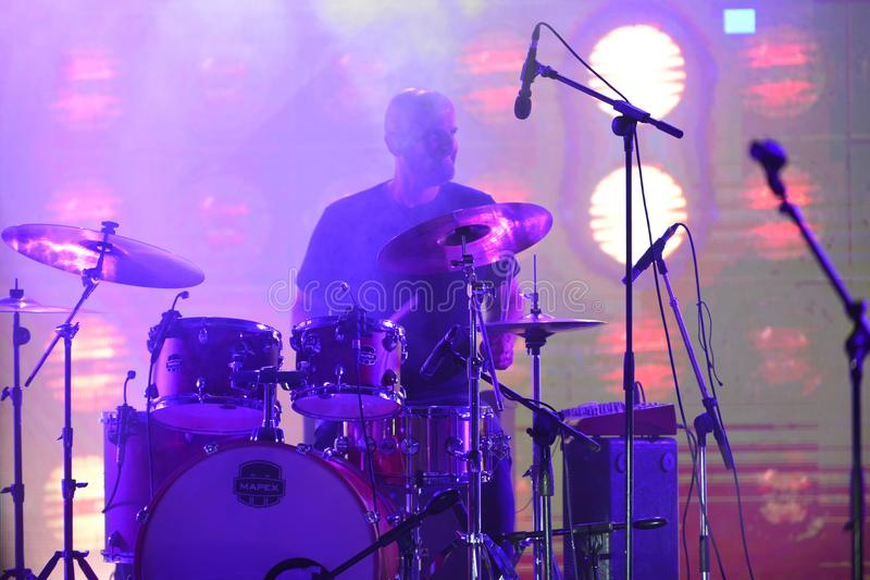 Drummer at Israel 70 Independence Day stock image