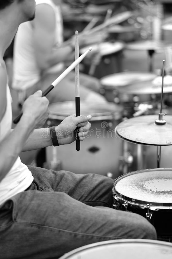 The drummer& x27;s hands royalty free stock images