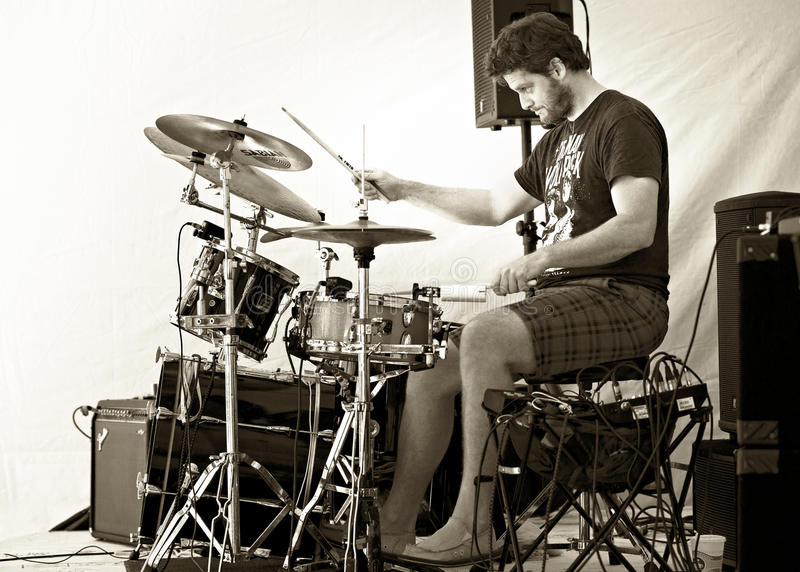Drummer Troy Howard plays Cultivate Food Festival - Port Hope Ontario. The music scene in Northumberland County is rich in talent and outdoor events like stock image