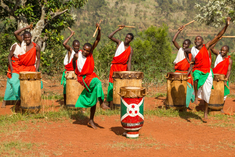 Drummers of Burundi. Drummers of the gishora drumming group stock images
