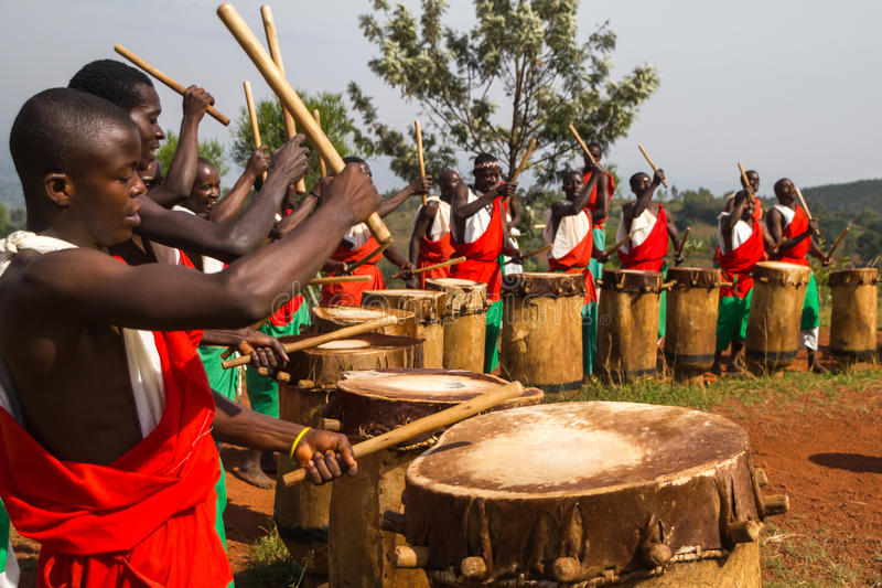 Drummers of Burundi. Drummers of the gishora drumming group stock photos