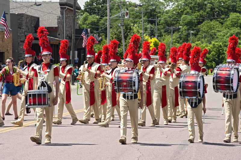 Drummers Lead Sibley Band at Mendota Parade. Mendota, Minnesota/USA - July 13, 2019: Drummers lead the Henry Sibley High School Marching Band as it performs in stock image