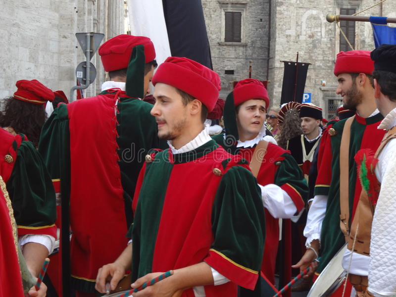 Drummers in medieval clothes. Group of drummers in preparation to start the historical promenade of the Quintana, the historical festival/reenactment of Ascoli stock photos